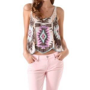FREE PEOPLE Crystallized Embroidered Aztec Tank